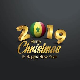 Senegal Flagge 2019 Frohe Weihnachten Typografie