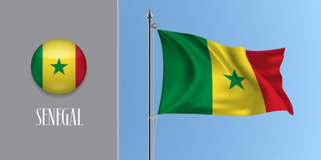 Senegal wehende flagge auf fahnenmast und rundem symbol. realistische 3d des kreisknopfes