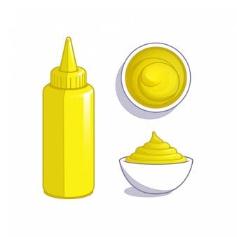 Senf-dip-sauce in flasche und schüssel.