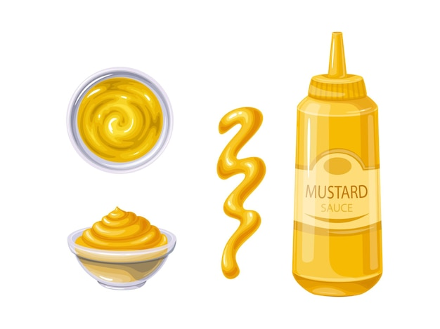 Senf in flasche und schüssel, sauce verschüttete streifen und flecken. senf-sauce draufsicht.