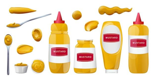 Senfflaschen und spritzer eingestellt. dijon-honig-sauce-creme. design im cartoon-stil für food-branding.