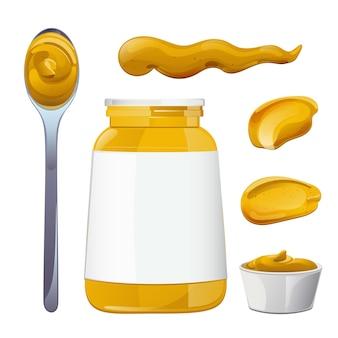 Senfflaschen und spritzer setzen dijon-honig-sauce-creme-vektor-design im cartoon-stil für lebensmittel