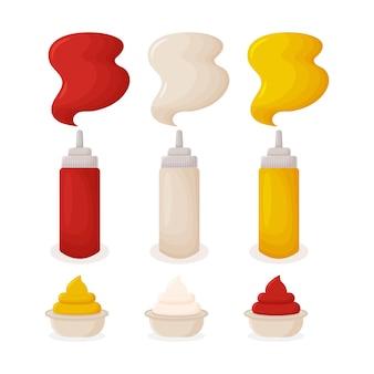 Senfketchup-mayonnaise-saucen in quetschflaschen für fast food