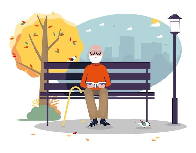 Senior active lifestyle outdoor-konzept senior mann liest ein buch auf der bank