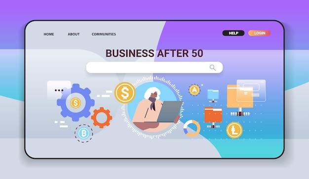 Senior afroamerikanische geschäftsfrau kauft oder verkauft bitcoins online-geldtransfer internet-zahlung kryptowährung blockchain-konzept horizontale porträtvektorillustration
