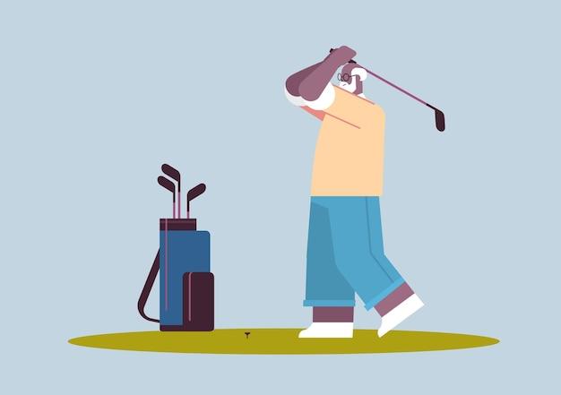 Senior afroamerikanischer mann, der golf im alter von spielern spielt, die einen schuss aktives alterskonzept machen, horizontale vektorillustration in voller länge