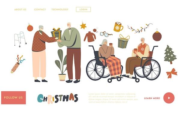 Senior charaktere feiern weihnachten landing page vorlage. alte männer und frauen, die sich gegenseitig grüßen und gratulieren. feiertagsfeier, wintersaison, weihnachtszeit. lineare menschen-vektor-illustration