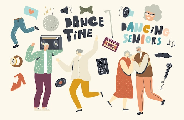 Senior charaktere freizeit mit tanzen und spaß. ältere leute, die zu hause party haben. aktiver lebensstil, alte männer und frauen in freundschaftsbeziehungen verbringen zeit miteinander, freizeit. lineare vektorillustration