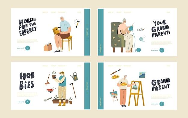 Senior charaktere verbringen zeit zu hause mit hobby landing page template set. vogelhaus machen, malen, stricken und im garten arbeiten. ältere männer und frauen spaß. lineare menschen-vektor-illustration