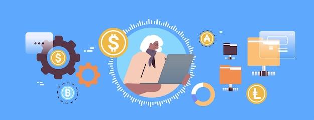 Senior geschäftsfrau kauft oder verkauft bitcoins online-geldtransfer internet-zahlung kryptowährung blockchain