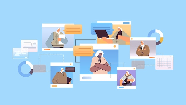 Senior geschäftsleute diskutieren während der videokonferenz geschäftsleute in webbrowser-fenstern chat-blasen-kommunikation