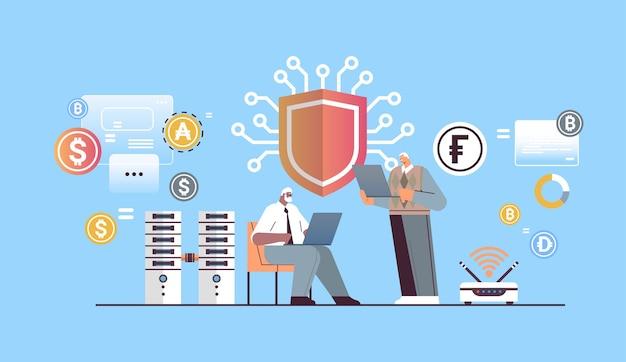 Senior geschäftsleute kaufen oder verkaufen bitcoins online-geldtransfer internet-zahlung kryptowährung blockchain-schutzkonzept horizontale vektorillustration in voller länge
