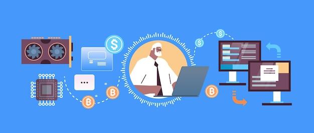 Senior geschäftsmann kauft oder verkauft bitcoins online-geldtransfer internet-zahlung kryptowährung blockchain-konzept horizontale porträtvektorillustration