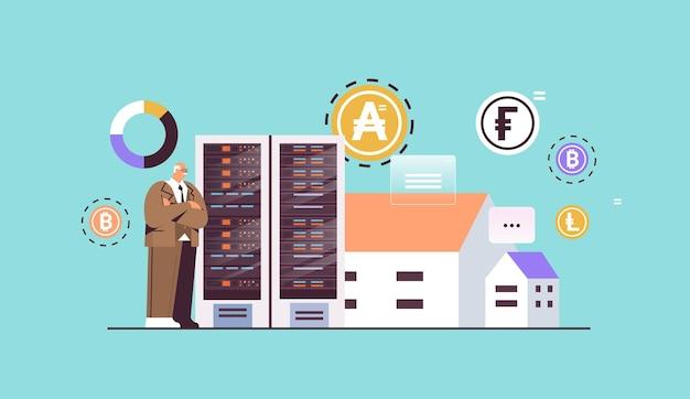 Senior geschäftsmann kauft oder verkauft bitcoins online-geldtransfer internet-zahlung kryptowährung blockchain-konzept horizontale vektorillustration in voller länge