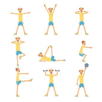 Senior-mann-charakter-übungssatz, rentner des gesunden aktiven lebensstils, ältere fitness-illustrationen