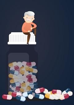 Senior mit tablettenfläschchen.