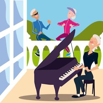 Senioren aktiv, alter mann und frau joggen und ältere frau, die klavierillustration spielt