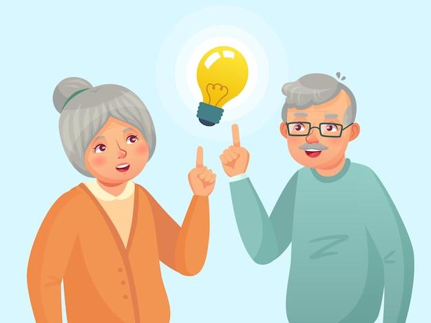 Senioren-idee. paare der alten leute haben idee, älteres denkendes problem des älteren. großvater- und großmutterkarikaturillustration