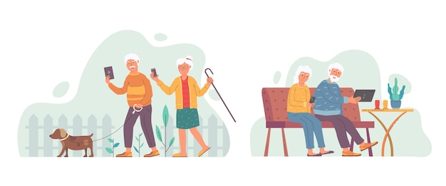 Senioren mit flachem design und illustrierter technologie