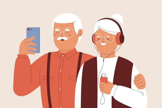 Senioren mit flacher illustration, die technologie verwenden