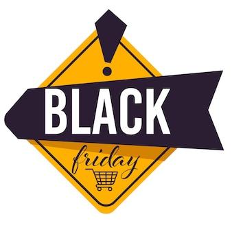 Senkung der preise für black friday, sale und rabatte auf produkte in geschäften und geschäften. banner mit kalligraphie-aufschrift und warenkorb. anzeige des abstandsvektors im flachen stil