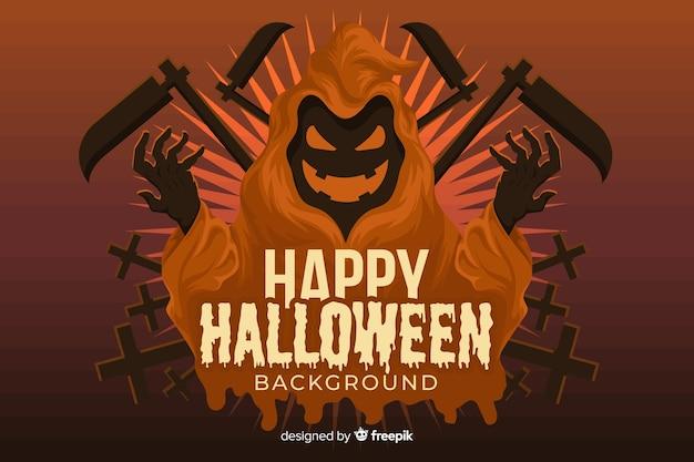 Sensenmann-halloween-hintergrund im flachen design