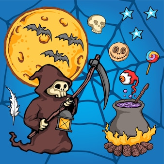Sensenmann-halloween-vektor-illustration