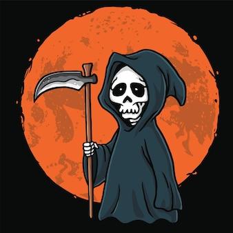 Sensenmann-karikatur mit mond-hintergrund-halloween-karten-einladungs-vektor-design-illustration