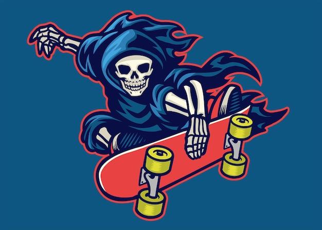 Sensenmann-skateboard-sprung mit stunt-trick