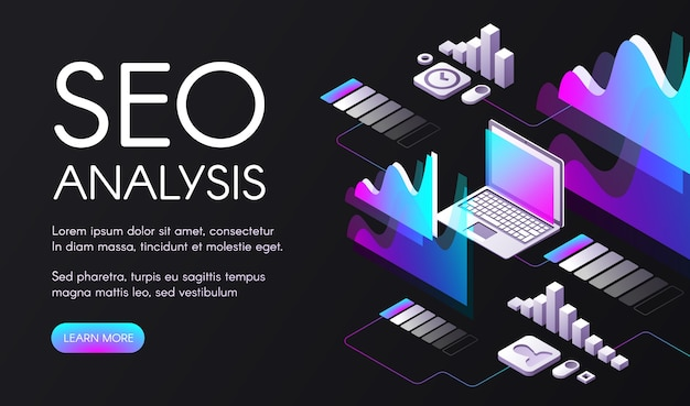 Seo-analyse illustration der suchmaschinen-optimierung im digitalen marketing.
