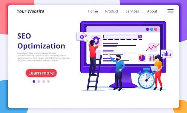 Seo-analyse-konzept mit menschen arbeiten auf dem bildschirm. suchmaschinenoptimierung, marketing und strategien. website-landingpage-vorlage