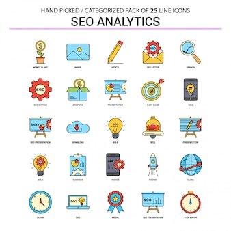 Seo analytics flat line icon set