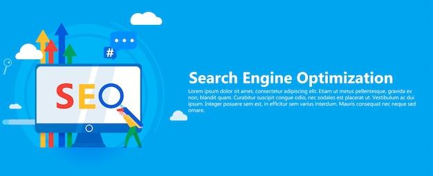 Seo banner. arbeiten sie am inhalt der website und an der indizierung von suchmaschinen.