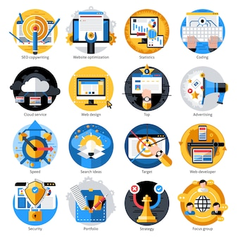 Seo entwicklung runden icons set