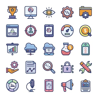 Seo flache icons pack