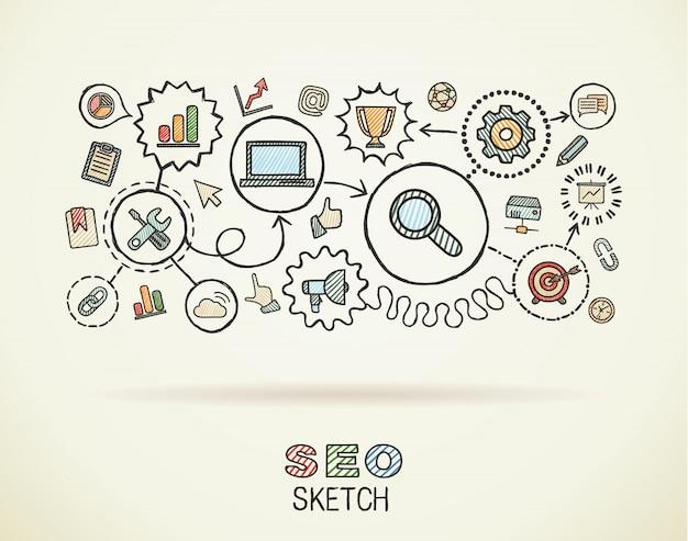 Seo hand zeichnen integrierte symbole auf papier gesetzt. bunte skizze infografik illustration. vernetzte doodle-piktogramme, marketing, netzwerk, analyse, technologie, optimierung, interaktives konzept