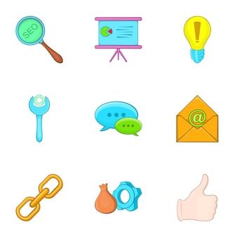 Seo icons set, cartoon-stil