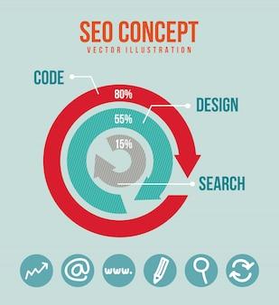 Seo-illustration mit pfeilen und icons vektor hintergrund