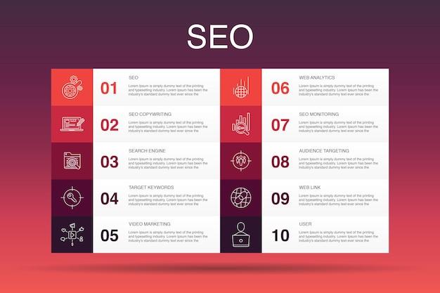 Seo infografik 10-optionsvorlage. suchmaschine, zielschlüsselwörter, webanalyse, seo-überwachung einfache symbole