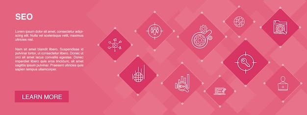 Seo infografik 10 schritte vorlage. suchmaschine, zielschlüsselwörter, webanalyse, seo-überwachung einfache symbole