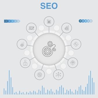 Seo-infografik mit symbolen. enthält symbole wie suchmaschine, ziel-keywords, webanalyse, seo-überwachung