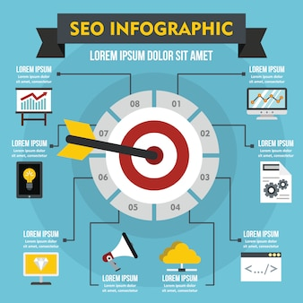 Seo infographik konzept, flachen stil