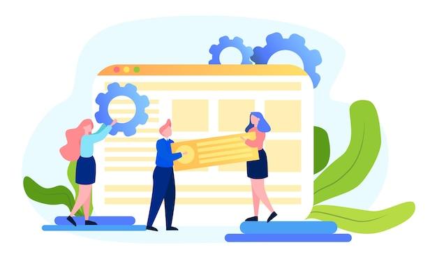 Seo-konzept. idee der suchmaschinenoptimierung für website als marketingstrategie. leute machen webseitenwerbung im internet. illustration