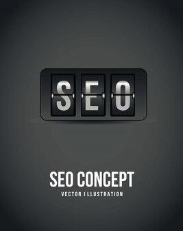 Seo-konzept über grauem hintergrund countdown-vektor-illustration