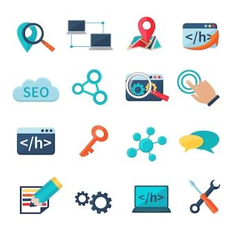 Seo marketing-analytik und flache ikonen der entwicklung stellten lokalisierte vektorillustration ein