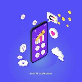 Seo oder suchmaschinenoptimierung isometrisch mobil. und digitale medien, die flaches vektorkonzept vermarkten