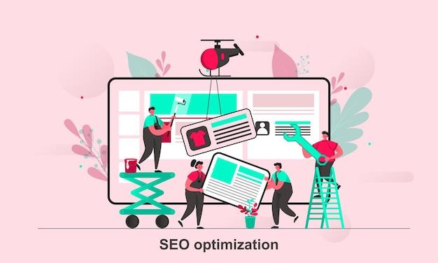 Seo-optimierung web-konzept-design im flachen stil mit winzigen personen zeichen