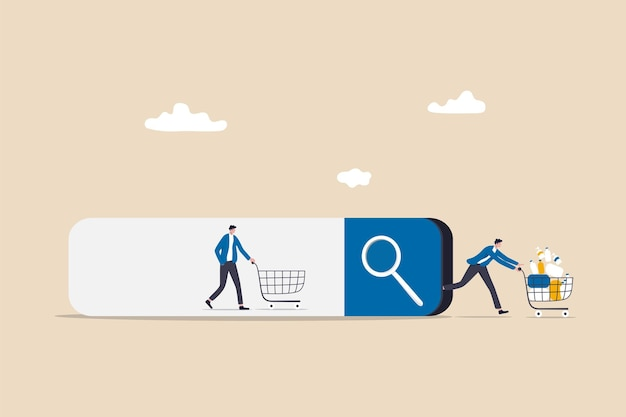 Seo, suchmaschinenoptimierung, kundensuche online und kauf von der website, konversionsratenkonzept, kundenwarteschlange in der suchleiste und kasse mit vielen gekauften artikeln im warenkorb.