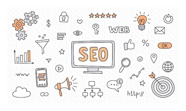 Seo-technologie und optimierung des webverkehrs. hand gezeichnete seo-sammlung