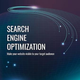 Seo-technologie-vorlage für social-media-beiträge in dunkelblauem ton